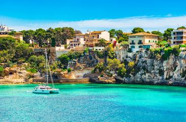 Beautiful view of the coast of Porto Cristo on Majorca island, Spain Mediterranean Sea