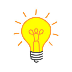Yellow lightbulb drawing on white background