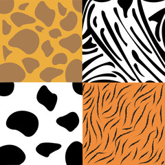 A collection of four different animal print backgrounds. Seamlessly repeatable. Eps 10 Vector.