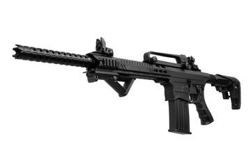 Black automatic shotgun isolated on white