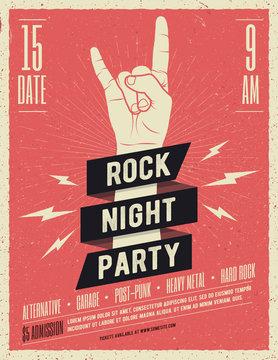 Rock music festival flyer. Vector illustration.