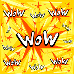 WOW comics sound effect with halftone pattern on yellow background. Web site page and mobile app design vector element.