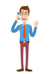 Businessman talking on mobile phone and raised a hand in greeting