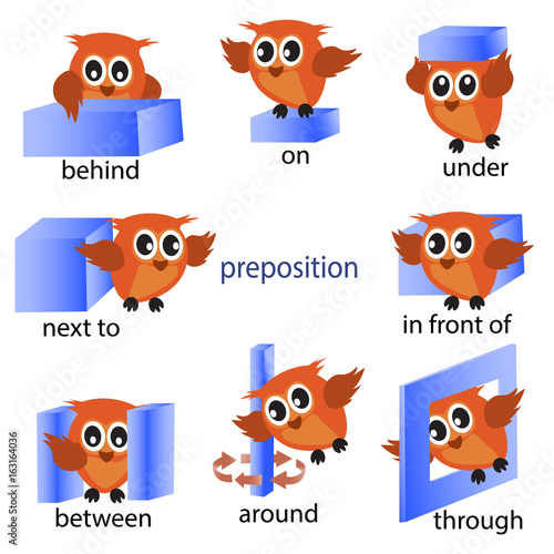 """Preposition In Learn In Marathi All Complate: """"preposition English Grammar With Owl Motion For Preschool"""