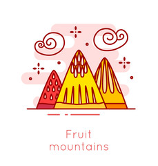 Fruit mountains and cotton candy clouds in thin line flat design. Fun food vector banner.