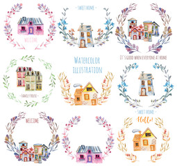 Set, collection of watercolor cartoon houses inside the floral wreaths, hand painted isolated on a white background, to create a logo, symbol, home decor etc