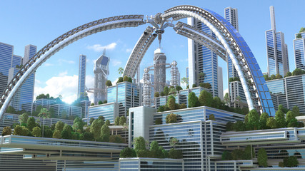 "3D Illustration of a futuristic ""green"" city with an arched structure and high rise buildings with terraces covered in vegetation, for environmental architecture backgrounds."