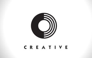 O Logo Letter With Black Lines Design. Line Letter Vector Illustration