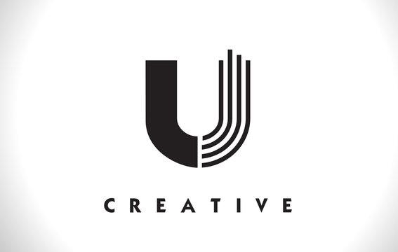 U Logo Letter With Black Lines Design. Line Letter Vector Illustration