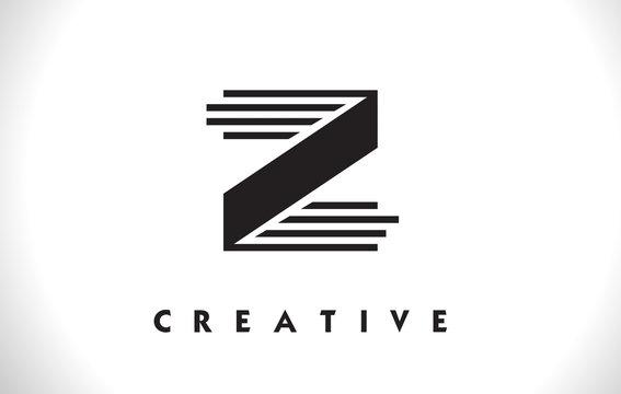 Z Logo Letter With Black Lines Design. Line Letter Vector Illustration