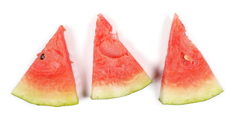 Fresh watermelon slices isolated on white background, top view