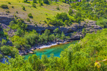 Moraca river canyon, clear water and beautiful landscape, HDR Image.