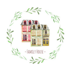 Watercolor english houses inside floral wreath, with an inscription ''Family House'', hand painted isolated on a white background