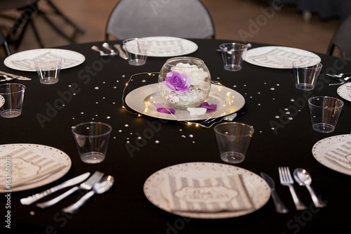 fancy black tie theme decorated table stock photo and royalty free