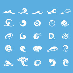 Water waves icons set. Water Design Elements. Can be used as icon, symbol or logo design. Set of white sea waves isolated on blue background.