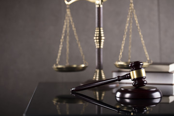Law symbols, gavel, scale, books. Law concept background. Place for text.