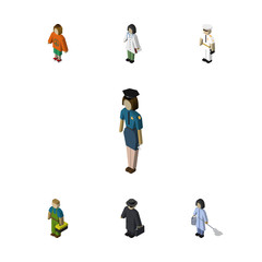 Isometric Person Set Of Detective, Plumber, Housemaid And Other Vector Objects. Also Includes Agent, Housekeeper, Medic Elements.