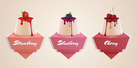 Vector panna cotta stickers. Vintage banners with fresh berries. Strawberry, cherry and blueberry. Traditional Italian dessert.