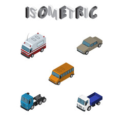 Isometric Transport Set Of Autobus, Lorry, Auto And Other Vector Objects. Also Includes Bus, Auto, Car Elements.