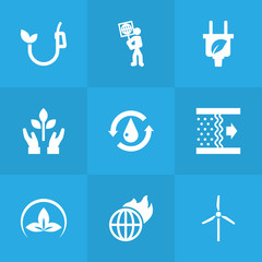 Set Of 9 Ecology Icons Set.Collection Of Treatment, Friendly, Warm And Other Elements.
