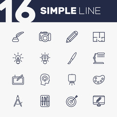 Set Of 16 Creative Outline Icons Set.Collection Of Drawing Tools, Graphic Tablet, Palette And Other Elements.