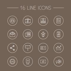 Set Of 16 Commercial Outline Icons Set.Collection Of Business Card, Target, Tv And Other Elements.