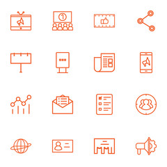 Set Of 16 Trade Outline Icons Set.Collection Of Billboard, Campaign, Newspaper And Other Elements.
