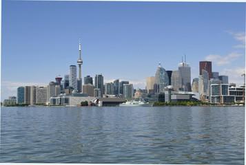 Toronto skyline along Lake Ontario wide shot