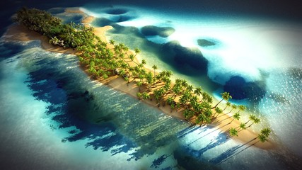 Small tropical island in Maldives atoll from aerial view 3d rendering