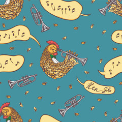 Seamless Pattern with Rooster and Trumpet