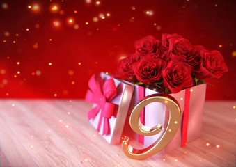 birthday concept with red roses in gift on wooden desk. nineth. 9th. 3D render