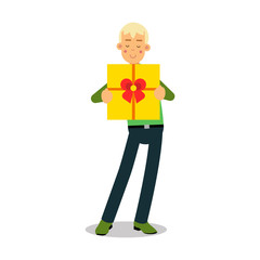 Young smiling blonde man standing with yellow gift box cartoon character vector Illustration