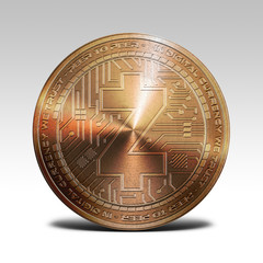 copper z-cash zcash coin isolated on white background 3d rendering