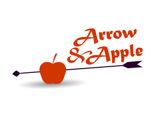 Apple and arrow on a white background. Vector illustration