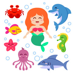 Mermaid and sea animals. Fish, starfish, octopus, seahorse, shark, dolphin, crab