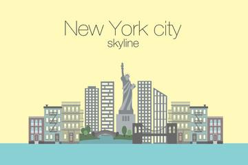Vector llustration of New York city skyline  in trendy flat style