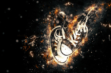 Sneakers on fire isolated in black background.