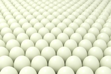 Abstract background of balls or set of chicken eggs. 3d illustration