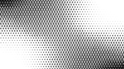 Abstract halftone pattern texture, Euro. Background is black and white. Vector modern background for posters, sites, business cards, postcards, interior design.