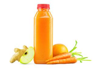 Freshly Squeezed Carrot Apple Orange Ginger Juice in Bottle on White Background