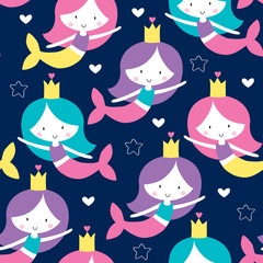 seamless mermaid pattern vector illustration