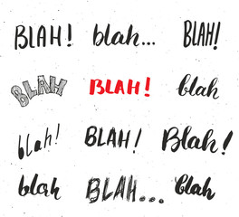 Blah, blah words hand written set vector illustration isolated on white background.