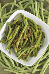 Green Beans with Onions, Overhead view