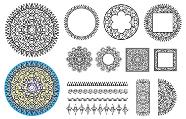 Collection elements round pattern, square frames, brushes. Mandala for your creative, greeting card, coloring book.