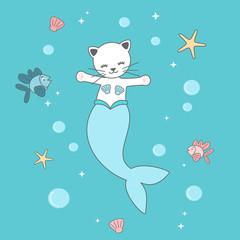 cute cartoon mermaid cat under the sea vector funny illustration