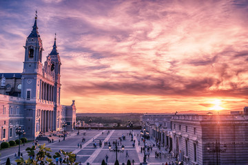 Madrid, Spain: the Cathedral of Saint Mary the Ryoal of La Almudena at sunset