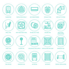 Ventilation equipment flat line icons. Air conditioning, cooling appliances, exhaust fan. Household and industrial ventilator thin linear signs for store.