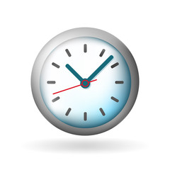 Cute Clock Icon on White Background . Isolated Vector Illustration