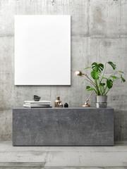 poster in hipster interior, minimalism concept concrete interior, 3d illustration