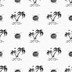 Seamless pattern background with hand drawn palm trees, summer semless, background, vector illustration